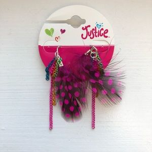 Justice Accessories - Colorful & pink polka dot feather drop earrings